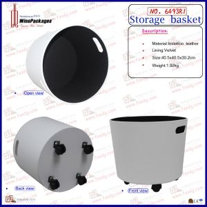 Pulley Blcok White Leather Basket (6493R1) pictures & photos