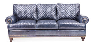 Blue Color Leather Sofa for Living Room (A32) pictures & photos