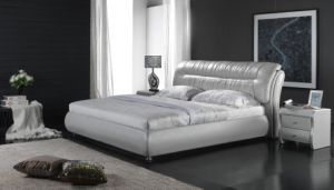 Home Furniture Genuine Leather White Soft Bed (6071) pictures & photos