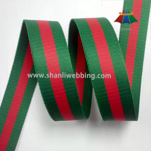 38mm Green Red Striped Polyester Webbing pictures & photos