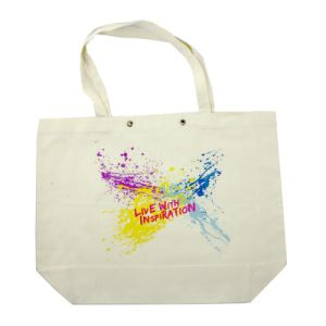 Cheap Natural White Printed Calico Tote Shopping Cotton Bag pictures & photos