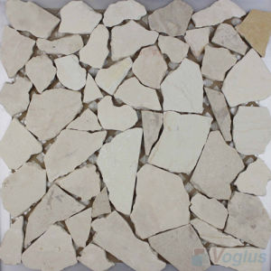 River Rock Beige Marble Stone Mosaic Wall Tile