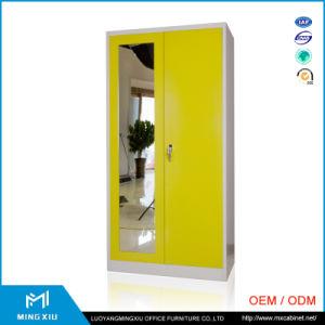 China Supplier 2 Door Yellow Bedroom Furniture Steel Wardrobe with Mirror / Steel Wardrobe pictures & photos