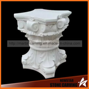 White Marble Carving Tea Table Base with Glass Top pictures & photos