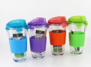 Glass Protein Shaker with PP Lid and TPR Sleeve Grip pictures & photos