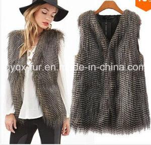New Women Faux Fur Vest Sleeveless Coat Peacock Feather Fur Vest Slim Waistcoat (Cy-1071) pictures & photos