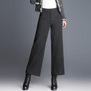 Wholesale OEM Ladies Casual Black Wide Leg Pants pictures & photos
