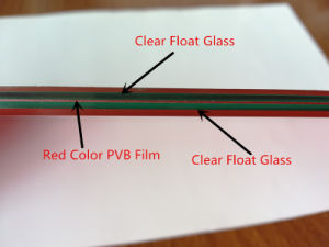 Red Color PVB Film 6.38mm Safety Laminated Glass pictures & photos