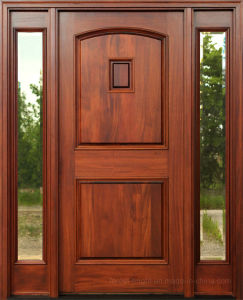 Mahogany Solid Wooden Doors with Clear Glass Side Lites (SC-1005) pictures & photos