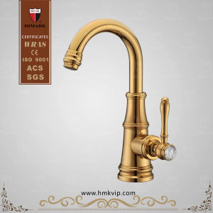 Antique Brass Single Handle Gold Faucet for Basin