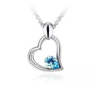 Women Sapphire Heart Pendant Necklace (FQ-1224)