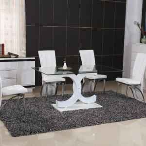 Modern Home Glass Metal Dining Room Table Furniture Set (ET51 & EC54)