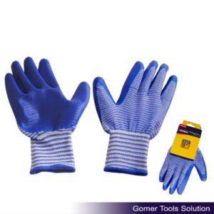 Zebra-Stripe Blue Nitrile Coated Work Glove