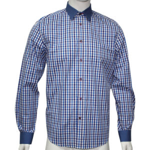Men′s Fashion Check Shirts with Contrast Collar and Cuff HD0038