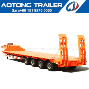 4 Axles 80t-100t Low Flat Bed/Lowboy Semi Truck Trailer pictures & photos