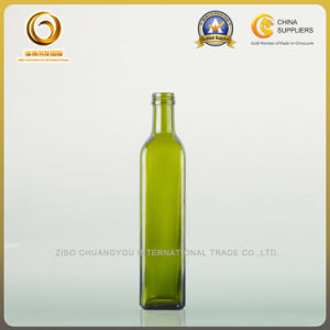 500ml Green Empty Glass Oil Bottle with Screw Cap (019) pictures & photos