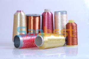 Metallic Silver Embroidery Thread with Polyester or Rayon Core Yarn pictures & photos
