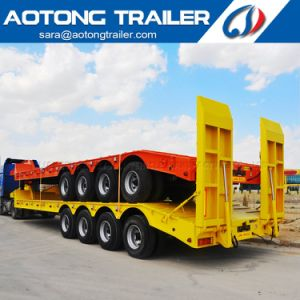 70-80tons 4 Axles Lowboy Truck Trailer/Low Loader Semi Trailer pictures & photos