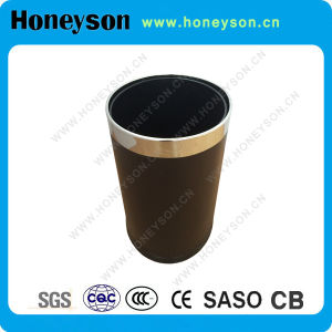 Leather Covered Waste Bin Top with Chome Finishing for Hotel Use pictures & photos