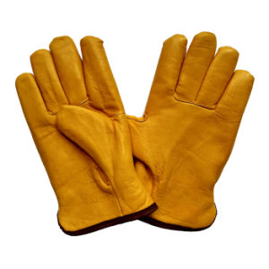 Protective Warm Leather Riggers Gloves for Miners with Full Lining pictures & photos