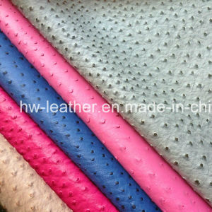 Ostrich Grain PU Leather for Garments (HW-1755) pictures & photos