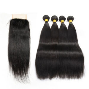 Wholesale Straight C Human Hair with Lace Frontal Closure 4*4 Straight Weave 4X4 Nature Color Brazilian Lace Closure