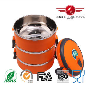 Round Orange Stainless Steel Lunch Box with Lock pictures & photos
