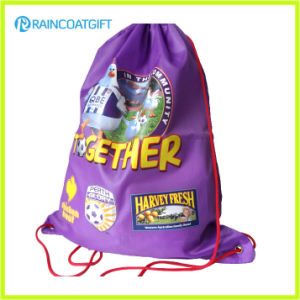 Promotional Custom Logo Imprinted Polyester Drawstring Bag pictures & photos