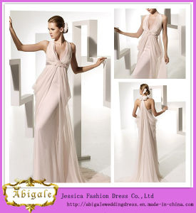 2014 Charming A Line Sleeveless Empire with Hand-Made Flower Floor Length Halter Pink Wedding Dress (hs037)