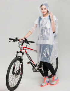 Clear Transparent PE Rain Poncho Pattern