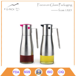 Hot Sale Glass Cooking Oil Bottle with Stainless Steel Holder pictures & photos