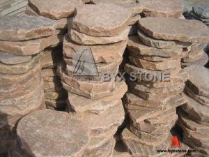 Pink Sandstone Natural Split Tumbled Irregular Shape Paving Stone pictures & photos