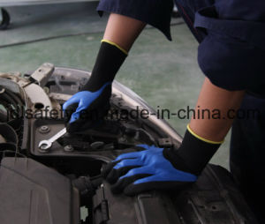 Blue Work Glove with Sandy Nitrile Coating (N1605) pictures & photos