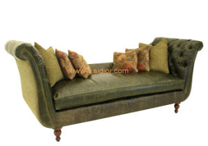 (CL-6614) Restaurant Living Room Couch Wooden Fabric Hotel Sofa pictures & photos