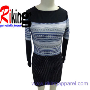 Fashion Ladies Apparel Jacquard Fabric Panel Dress (SS14RKD1316)