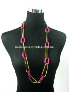 Colorful Plastic Round Ring with Nickle Free Plated Gold &Black Chain Fashion Neckalce Jewelry (N0047)