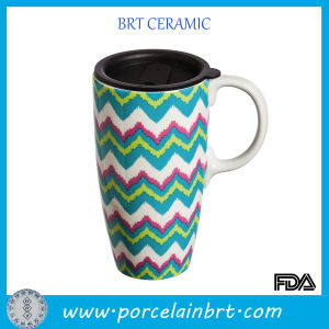 Large-Capacity Wave Printed Ceramic Coffee Mug with a Lid pictures & photos