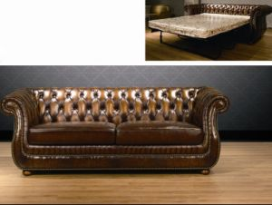 Stylish Classic Leather Sofa Bed (A3-1) ! pictures & photos
