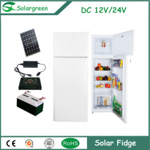 110W Power Big Function Double Doors Soalr Upright Refrigerator pictures & photos