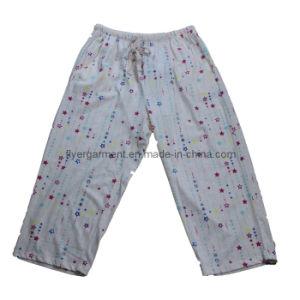 Woman′s 100%Cotton Single Jersey 3/4 Long Casual Full Printing Sleepwear