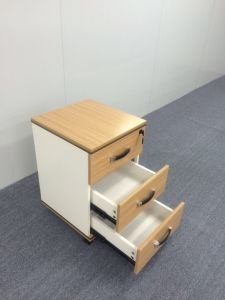 Customize Wooden Mobile Pedestal Drawer Cabinet with 3 Drawer pictures & photos