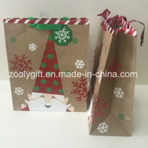 Glitter Recycle Brown Kraft Christmas Paper Gift Bags pictures & photos