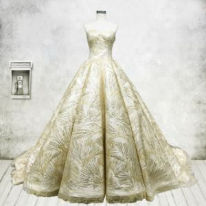 Strapless Bridal Ball Gown Gold Lace A-Line Puffy Wedding Dress H16115 pictures & photos