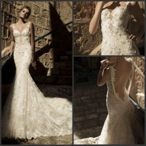 Mermaid Lace Wedding Dress Vestido De Noiva Renda Longo Backless Bridal Gown H477