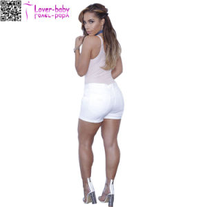 Women Fashion White Denim Cuffed Shorts L568 pictures & photos