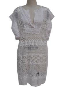 Lady Fashion Lace White Dress/ Garment/ Apparel (JDLN040)