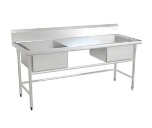 Stainless Steel Double Sink Table with Drainer pictures & photos