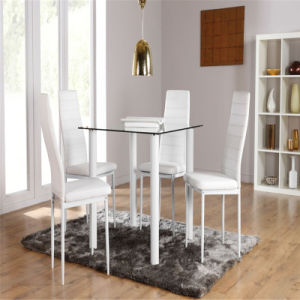 Glass Dining Table Set With4 Leather Chairs pictures & photos