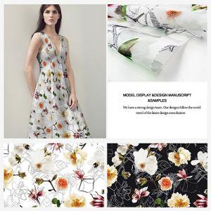 Fresh Flower Printed Polyester Organza Garment Fabric