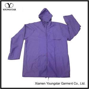 Wholesale Purple Color Women′s PVC Raincoat with Hood pictures & photos